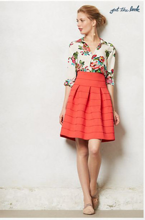 Anthropologie-Ponte-Bell-Skirt-Red