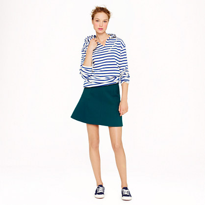 J.Crew Fluted Skirt in Double Crepe in Pack Green