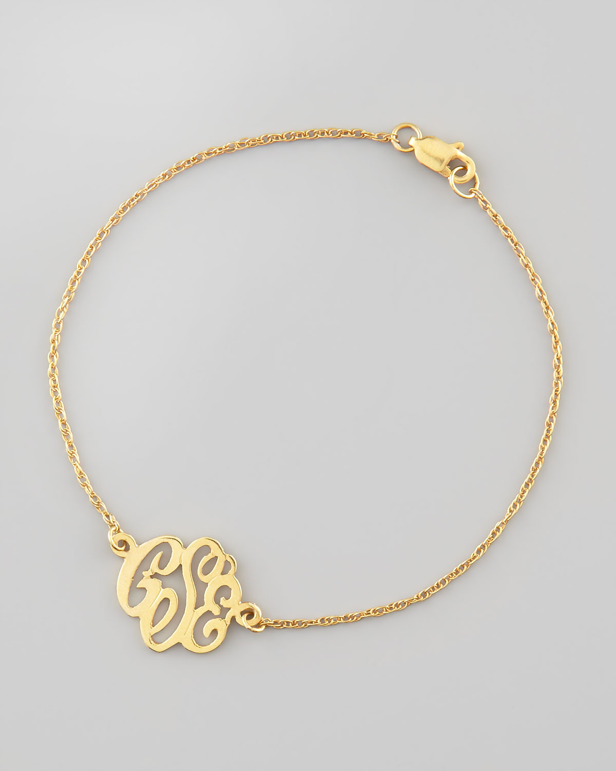Moon and Lola Mini Gold Script Monogram Bracelet