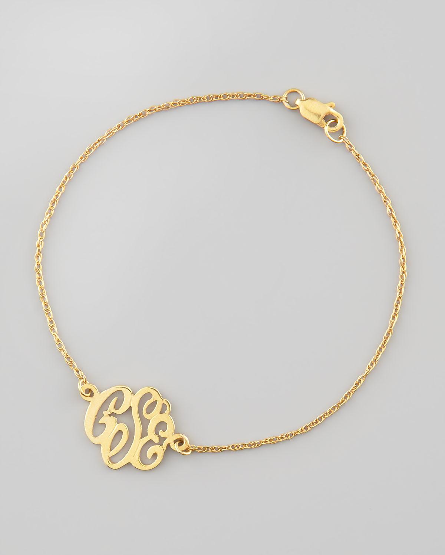 Moon and Lola Mini Gold Script Monogram Bracelet