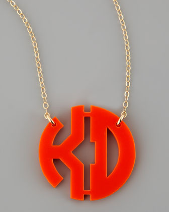 Moon and Lola Acrylic Block Two Letter Monogram Pendant Necklace