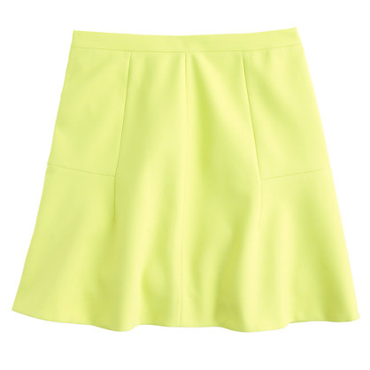 jcrew fluted skirt in double crepe pale citrus