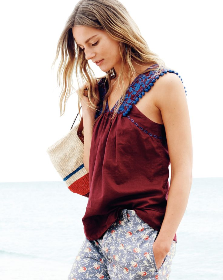 J.Crew Embroidered Pom-Pom Tank