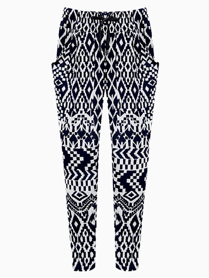 Choies Geometric Print Elastic Waist Harem Pants