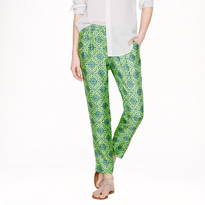 J.Crew Collection Cropped Pant in Medallion Floral