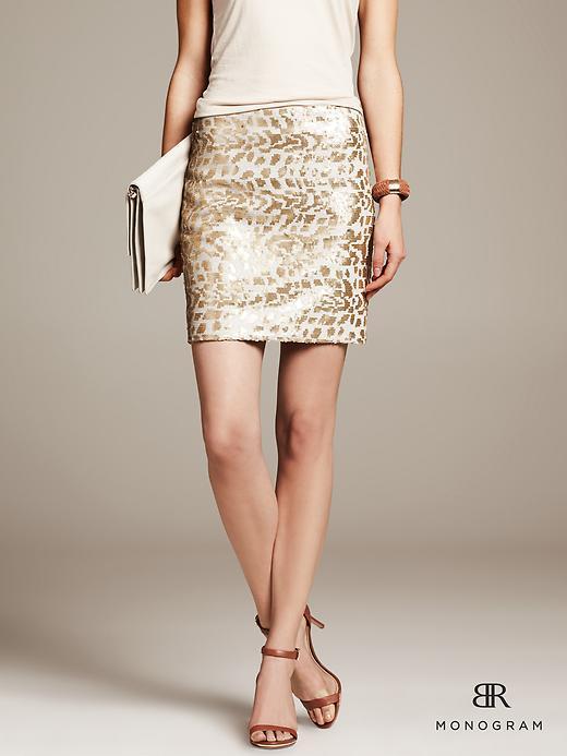 BR Monogram Gold Sequin Mini Skirt