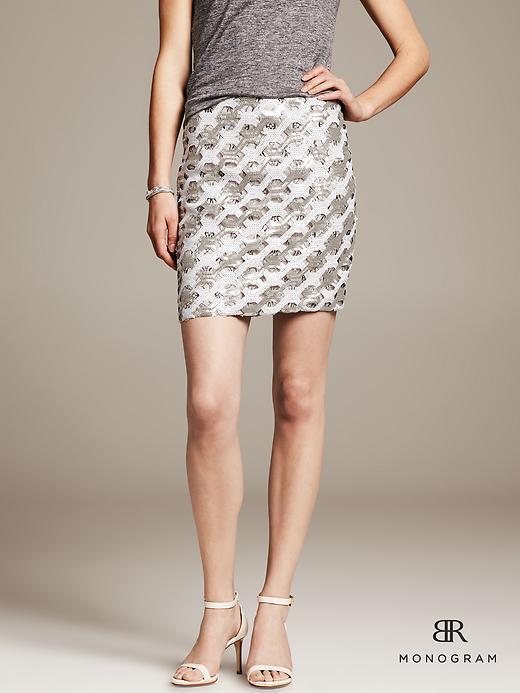 BR Monogram Silver Sequin Mini Skirt