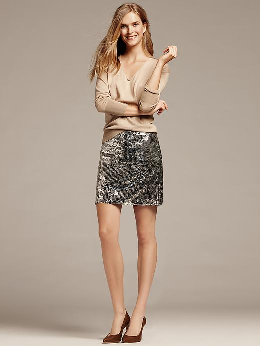 Banana Republic Monogram Silver Sequin Mini Skirt
