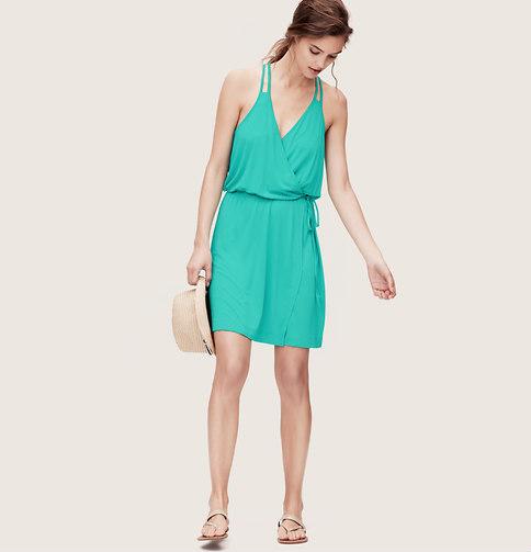 Ann Taylor Loft Beach Double Strap Wrap Dress