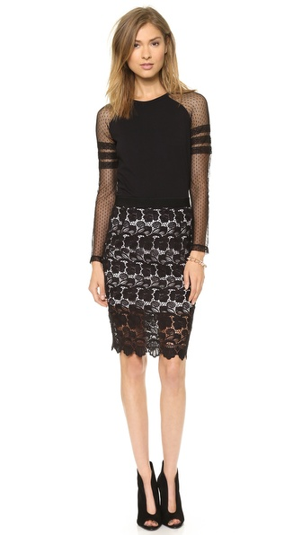 Rebecca Minkoff Angelica Floral Lace Skirt