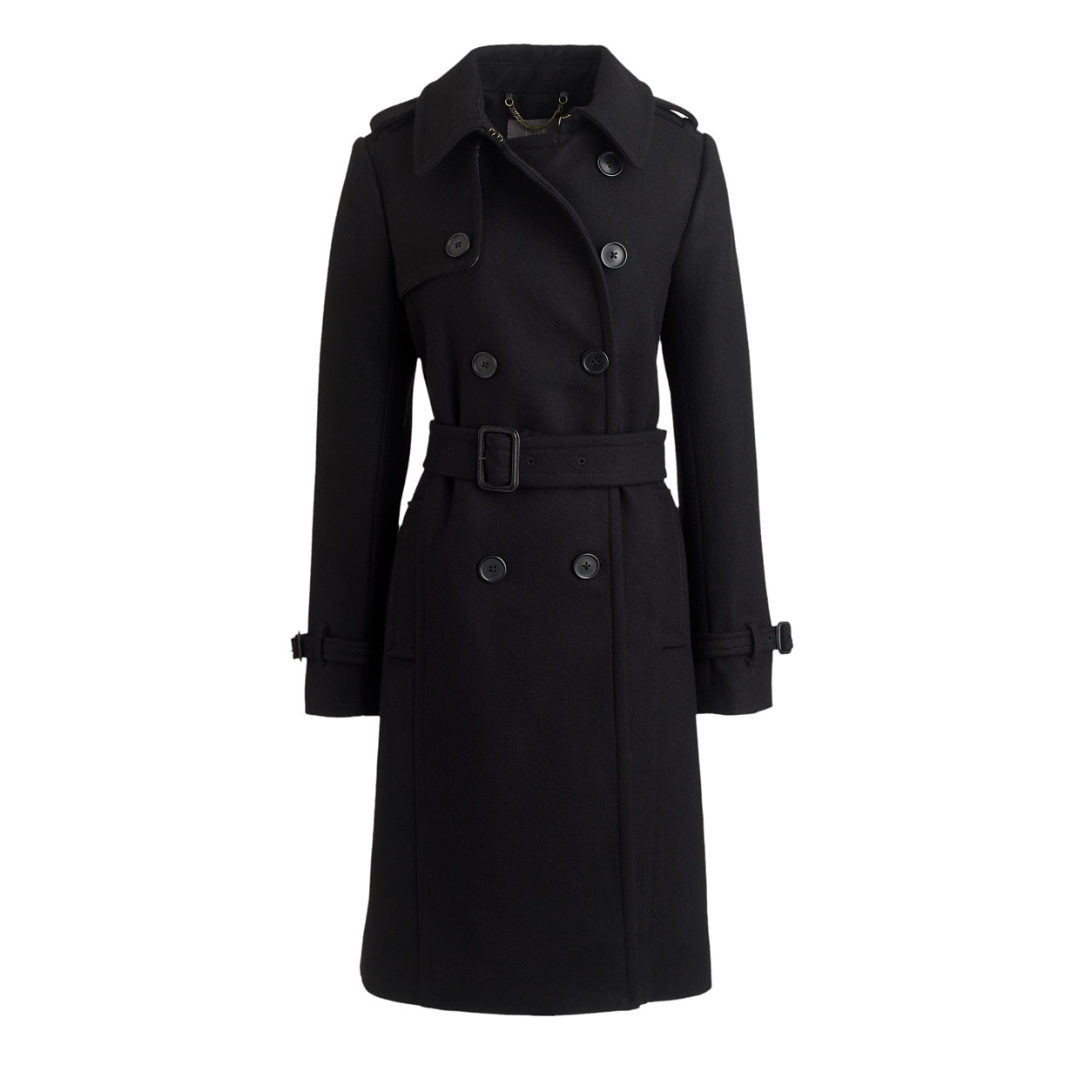 J.Crew Icon Trench in Wool-Cashmere Black