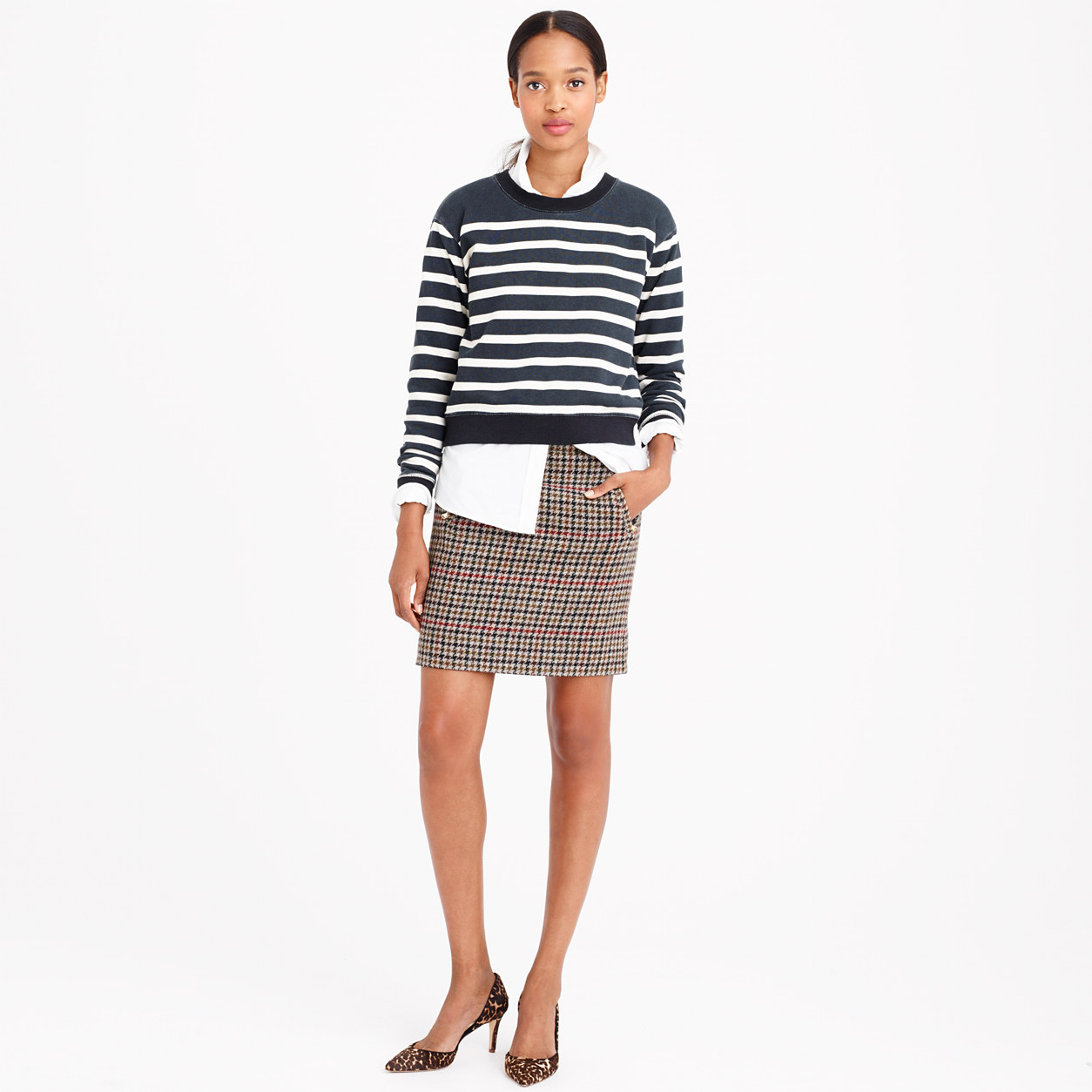 J.Crew Zip-Pocket Mini Skirt in Tweed