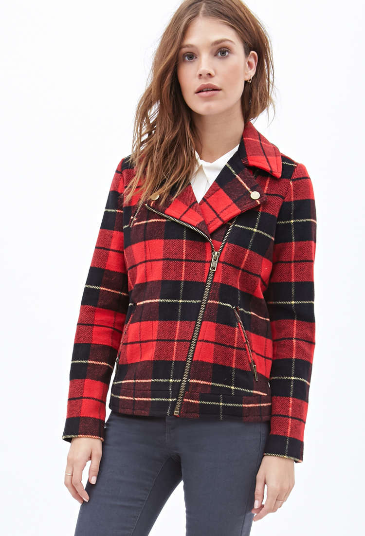 Forever21 Plaid Moto Jacket