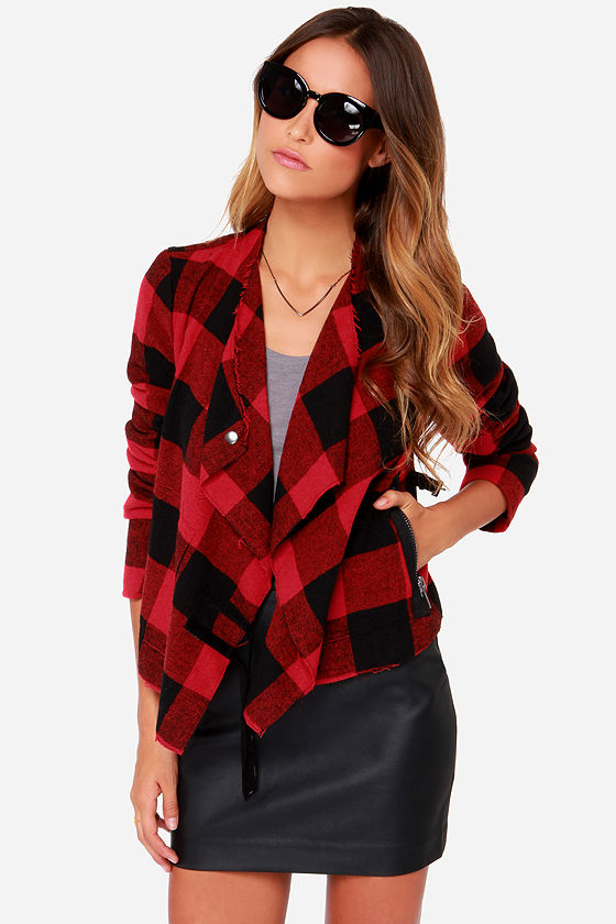 BB Dakota Rosanna Red Black Plaid Jacket