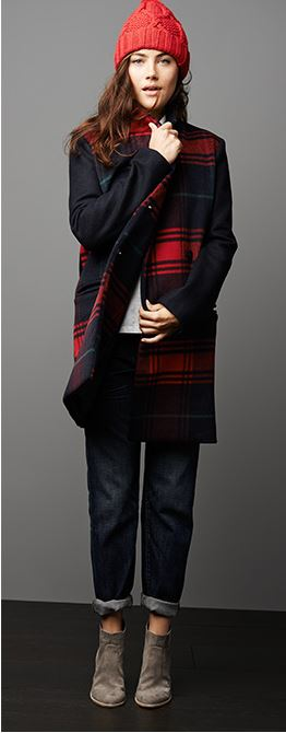 Gap Festive Plaid Car Coat