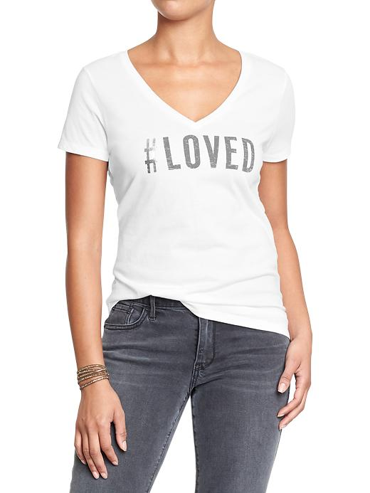 "Old Navy ""Loved"" Graphic V-Neck Tee"