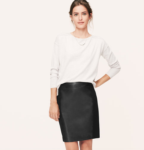 Loft Leather Paneled Ponte Skirt