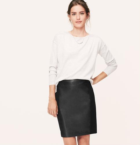 Loft Leather Paneled Ponte Skirt