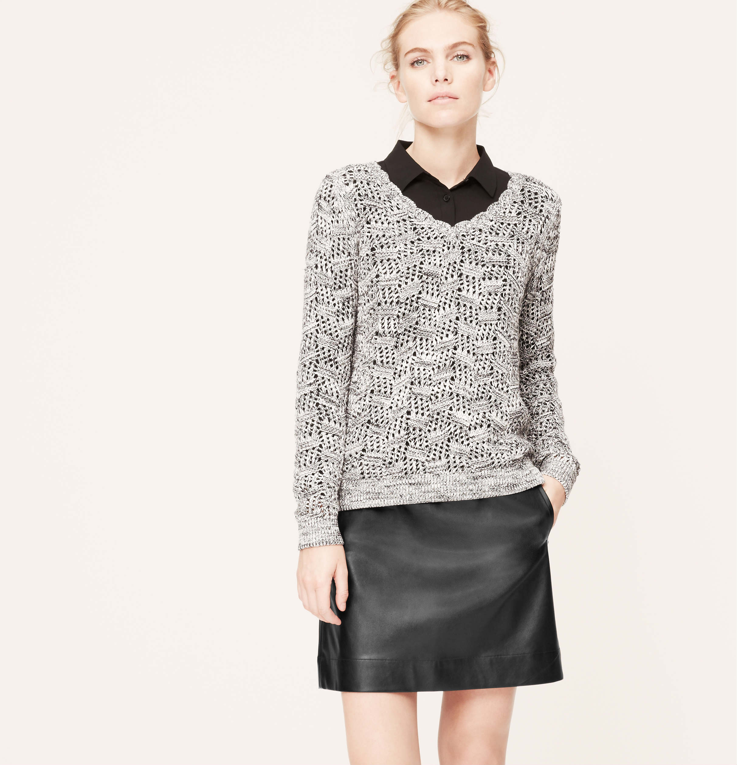 Loft Faux Leather Mini Skirt
