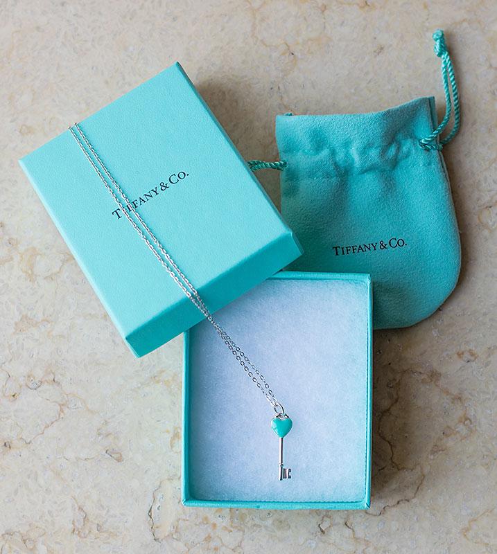 Tiffany's Heart Key Charm Pendant Necklace