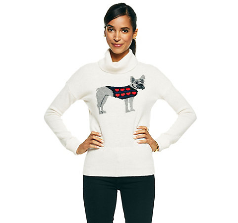 C. Wonder Embroidered Puppy Love Intarsia Sweater