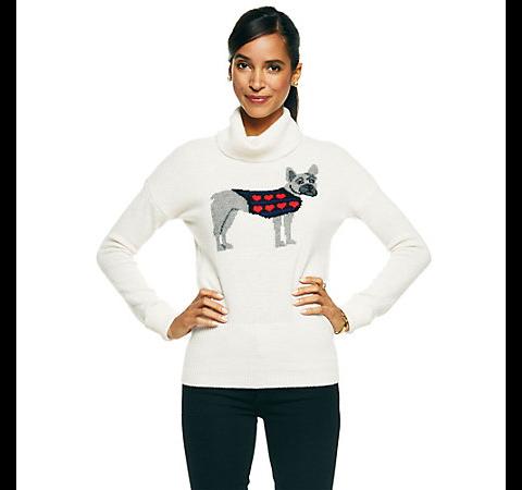 C. Wonder Embroidered Puppy Love Intarsia Sweater
