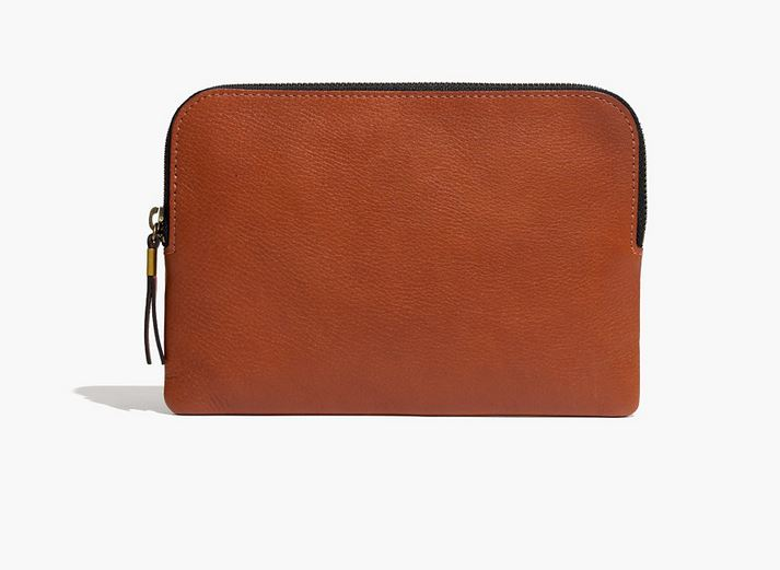 Madewell Medium Pouch Clutch in English Saddle