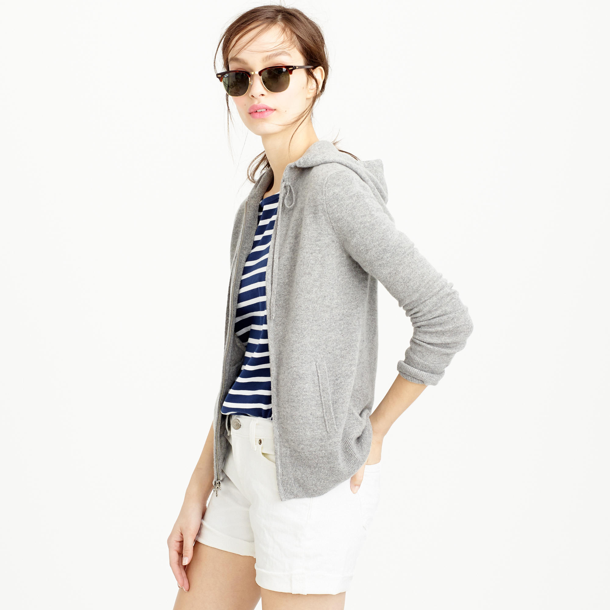 J.Crew Collection Cashmere Zip-Front Hoodie